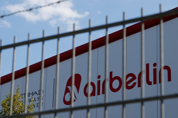 An Air Berlin sign is seen at an Air Berlin storage hall in Berlin, Germany on Aug. 15, 2017. (Reuters/Axel Schmidt/File Photo)