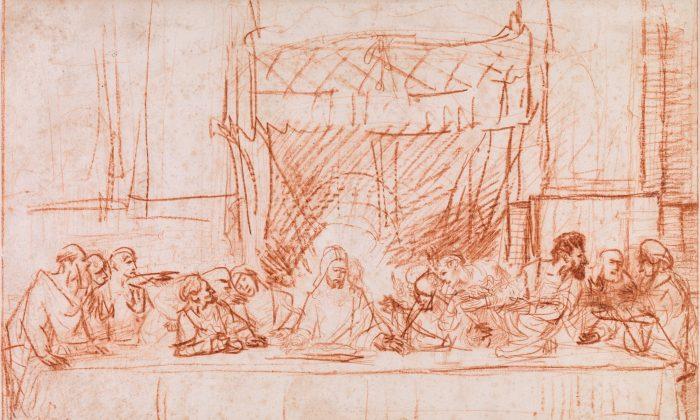"""The Last Supper, after Leonardo da Vinci"" (detail) 1634–1635 by Rembrandt van Rijn (1606–1669). Red chalk, The Metropolitan Museum of Art, Robert Lehman Collection, 1975. (The Metropolitan Museum of Art)"