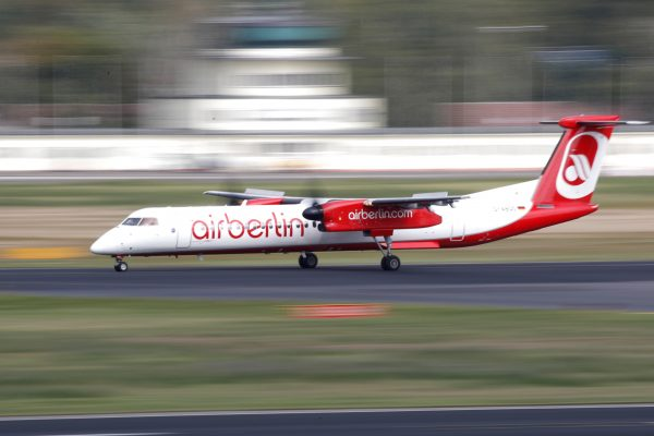 German carrier Air Berlin aircraft is pictured at Tegel airport in Berlin, Germany on Sept. 12, 2017. (Reuters/Axel Schmidt)