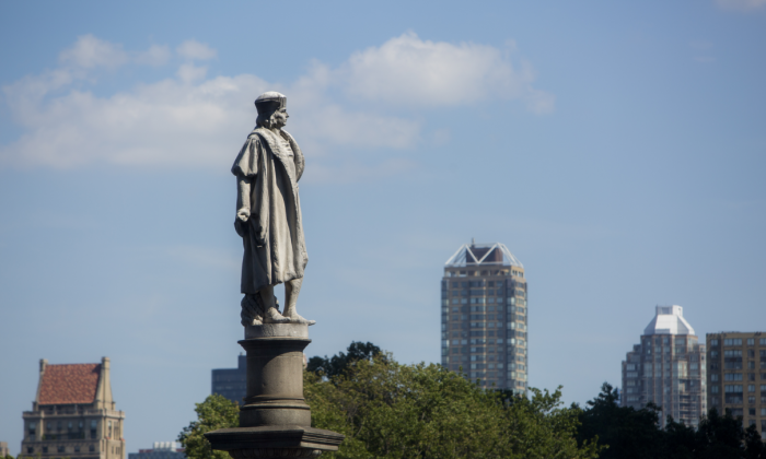 A statue of Christopher Columbus at Columbus Circle in New York City on Sept. 4, 2017. (Samira Bouaou/The Epoch Times)