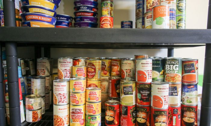 Food stock lines the shelves of a foodbank in the UK. (Matt Cardy/Getty Images)