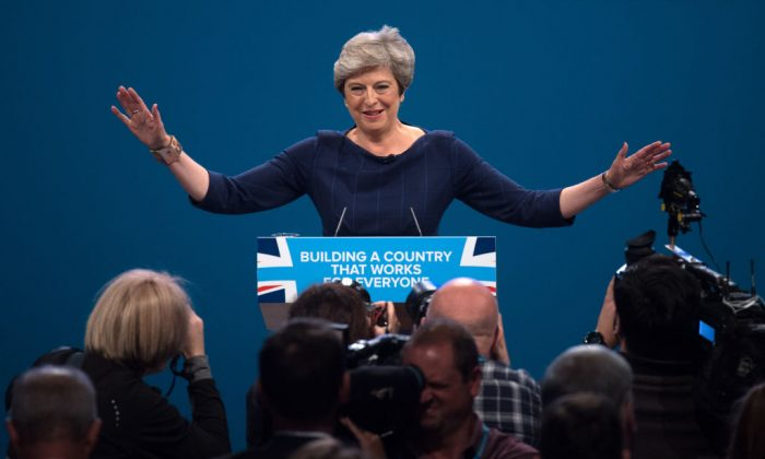 British Prime Minister Theresa May delivers her keynote speech to delegates and party members on the last day of the Conservative Party Conference at Manchester Central on Oct. 4, 2017 in Manchester. (Carl Court/Getty Images)