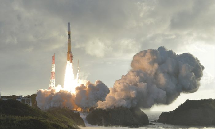 An H-2A rocket carrying Japan's fourth and final quasi-zenith satellite, the Michibiki No. 4, lifts off from the Tanegashima Space Center in Kagoshima Prefecture, southwestern Japan in this photo taken by Kyodo on Oct. 10, 2017.  (Kyodo/via REUTERS)