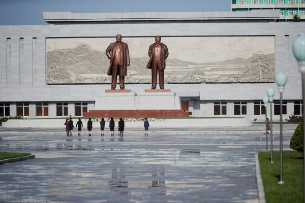 Statues of former leaders Kim Il Sung and Kim Jong Il are seen in Wonsan, North Korea October 2016. (Christian Peterson-Clausen/Handout via Reuters)