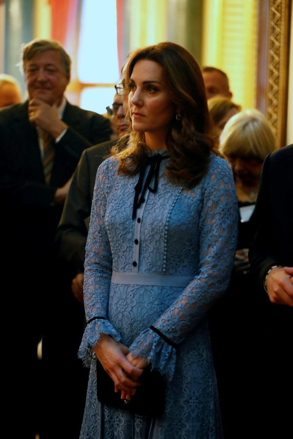 Catherine Duchess of Cambridge celebrates World Mental Health Day at Buckingham Palace in London, Britain on Oct. 10, 2017. (Reuters/ Heathcliff O'Malley/Pool)