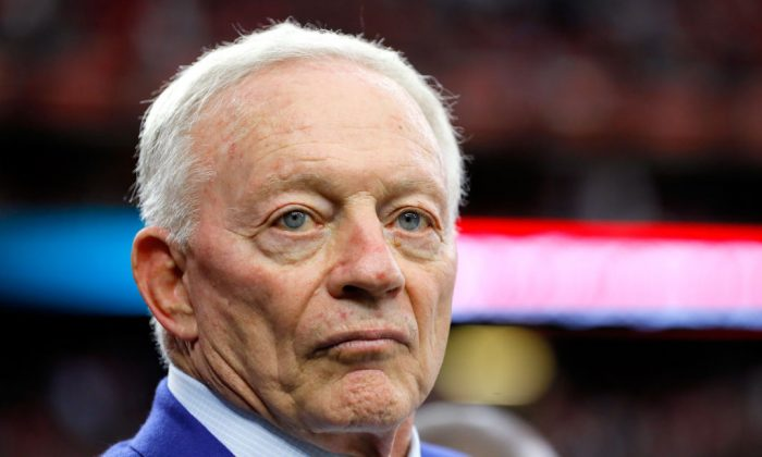Jerry Jones, owner of the Dallas Cowboys, prior to Super Bowl 51 between the Atlanta Falcons and the New England Patriots at NRG Stadium in Houston on Feb. 5, 2017. (Kevin C. Cox/Getty Images)