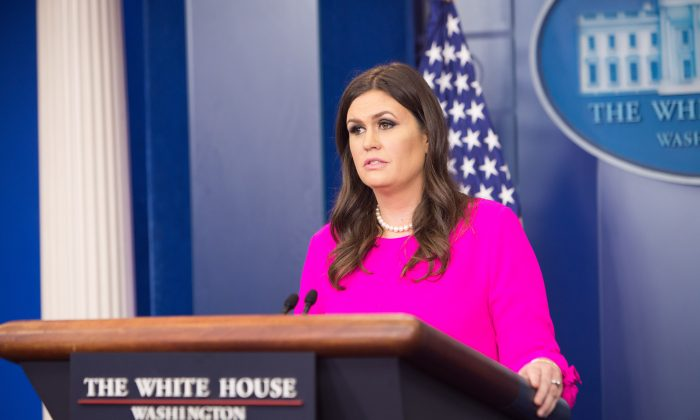 White House Press Secretary Sarah Sanders at a press briefing at the White House in Washington on Oct. 10, 2017. (Benjamin Chasteen/The Epoch Times)