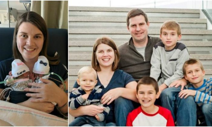Katie Evans with her premature twins (left frame) and with her husband and four boys (right frame) (YouCaring)