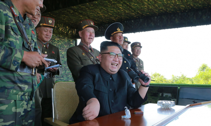 North Korean leader Kim Jong Un presides over a target strike exercise conducted by North Korean Special Forces at an undisclosed location, in a file photo released on Aug. 26, 2017. (STR/AFP/Getty Images)