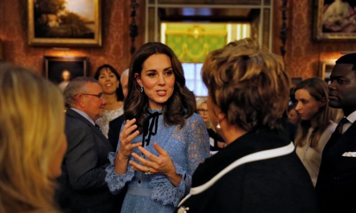 Catherine, Duchess of Cambridge celebrates World Mental Health Day at Buckingham Palace in London, Britain on Oct. 10, 2017. (Reuters/ Heathcliff O'Malley/Pool)