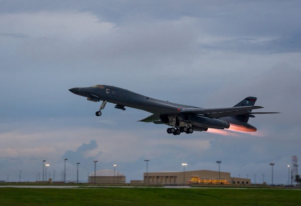 A U.S. Air Force B-1B Lancer assigned to the 37th Expeditionary Bomb Squadron, takes-off to fly a bilateral mission with Japanese and South Korea Air Force jets in the vicinity of the Sea of Japan, from Andersen Air Force Base, Guam, Oct. 10, 2017. (Staff Sgt. Joshua Smoot/U.S. Air Force/Handout via Reuters)