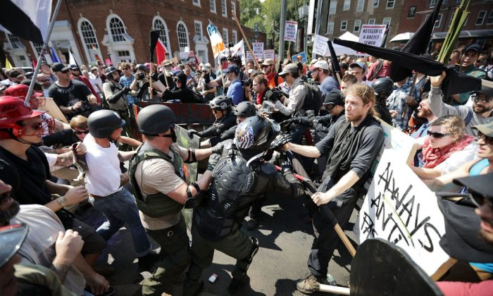 Members of the alt-right clash with counterprotesters as they enter Emancipation Park during the Unite the Right rally Aug. 12, 2017, in Charlottesville, Va.  (Chip Somodevilla/Getty Images)