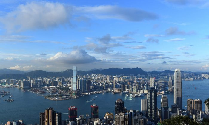A view of the Hong Kong skyline from Victoria Peak on Sept., 8, 2017. (Anthony Wallace/AFP/Getty Images)