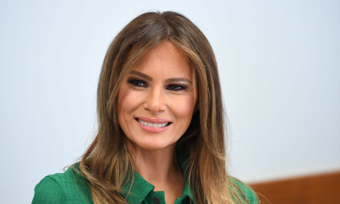 First Lady Melania Trump attends a roundtbale at Lily's Place, the first nonprofit infant recovery center that provides services to parents and families dealing with addiction in Huntington, West Virginia, on Oct. 10, 2017. (JIM WATSON/AFP/Getty Images)