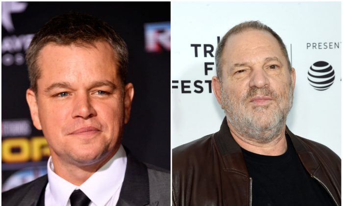 L: Matt Damon in Los Angeles on Oct. 10, 2017. (Frazer Harrison/Getty Images); R: Film Producer Harvey Weinstein in New York City on April 28, 2017. (Jamie McCarthy/Getty Images for Tribeca Film Festival)