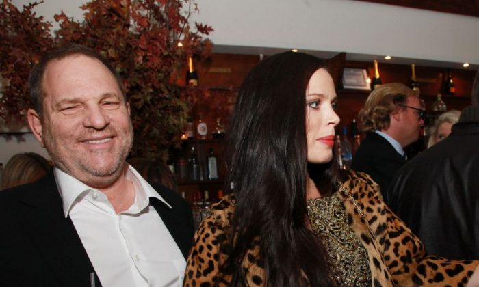 """Harvey Weinstein, Co-Chairman, The Weinstein Company, Georgina Chapman and author Katie Nicholl attend a cocktail party at Cipriani Downtown for """"William and Harry: Behind the Palace Walls"""" published by Weinstein Books in New York City on Nov. 9, 2010.  (Photo by Astrid Stawiarz/Getty Images for Weinstein Books)"""