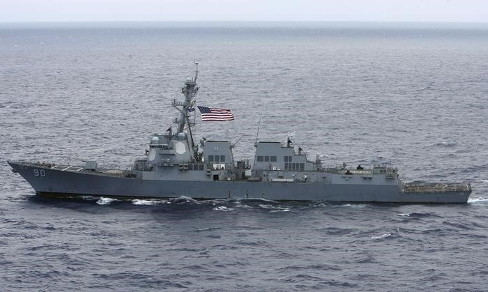 USS Chafee, a US Navy destroyer sails about 150 miles (241 km) north of the island of Oahu, Hawaii on July 18, 2012. The Chafee recently conducted a freedom-of-navigation exercise challenging the Chinese regime's expansive claims to international waters in the South China Sea. (REUTERS/Hugh Gentry)
