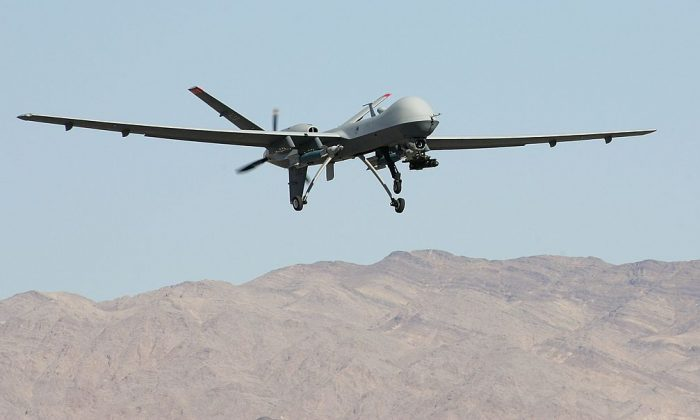 An MQ-9 Reaper takes off Aug. 8, 2007, at Creech Air Force Base in Indian Springs, Nev. (Ethan Miller/Getty Images)
