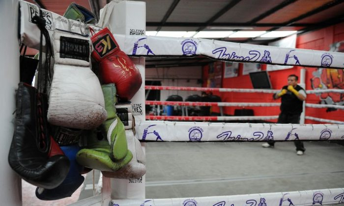 Boxing gloves hang from a ring at a gym on July 06, 2017. (BERNARDO MONTOYA/AFP/Getty Images)