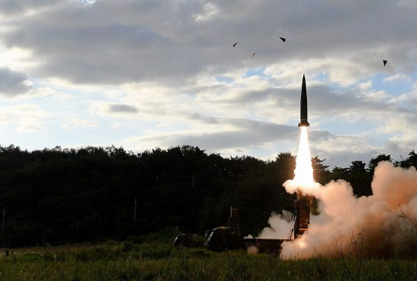 South Korea's missile system fires aHyunmu-2 missile into the East Sea during a drill aimed to counter North Korea's missile fires on September 15, 2017 in East Coast, South Korea. (South Korean Defense Ministry via Getty Images)