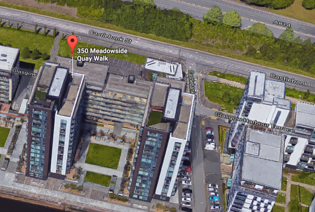 An aerial view of Glasgow Harbour development shows 350 Meadowside Quay, where residents were sent letters by the council warning about cladding safety concerns. (Screenshot via GoogleMaps)