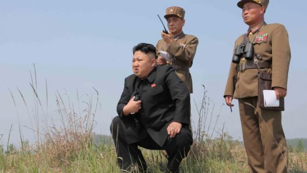 North Korean leader Kim Jong Un (C) guides the multiple-rocket launching drill in this undated photo released by North Korea's Korean Central News Agency (KCNA) April 24, 2014. (KCNA via ReutersS/File Photo)