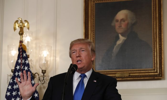 President Donald Trump speaks about the Iran nuclear deal in the Diplomatic Room of the White House in Washington on Oct. 13, 2017. (Reuters/Kevin Lamarque)