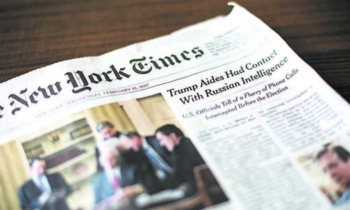 The Feb. 15 edition of The New York Times. (SAMIRA BOUAOU/THE EPOCH TIMES)