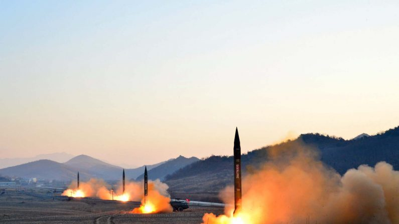 This undated picture released by North Korea's Korean Central News Agency (KCNA) via KNS on March 7, 2017 shows the launch of four ballistic missiles by the Korean People's Army (KPA) during a military drill at an undisclosed location in North Korea. (AFP/Getty Images)