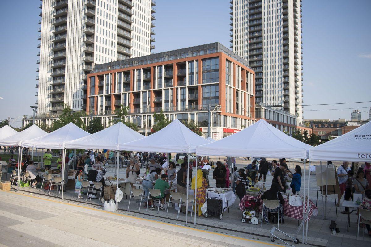Taste of Regent Park's Farmer market during the summer. (Courtesy of Daniels Corporation)