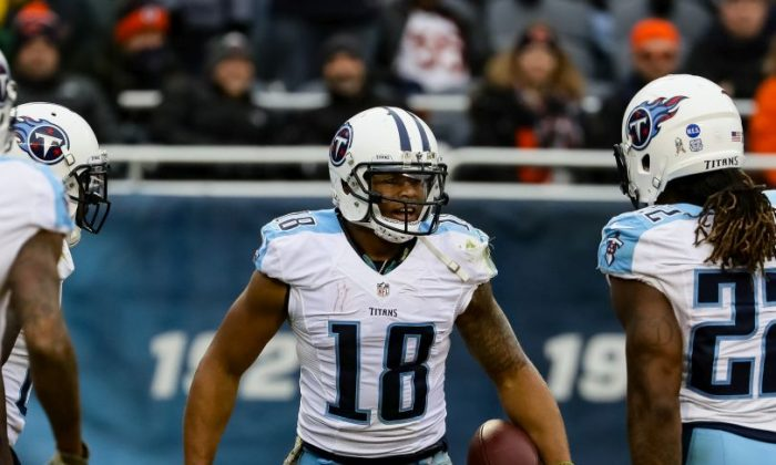 Rishard Matthews #18 of the Tennessee Titans celebrates after scoring in the second quarter against the Chicago Bears at Soldier Field in Chicago, Illinois, on Nov. 27, 2016. (Jonathan Daniel/Getty Images)