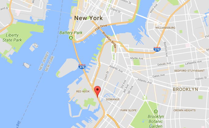 The approximate location where a burning car with a woman's body inside was found in Brooklyn, New York, on Friday, Oct. 13, 2017. (Screenshot via Google Maps)
