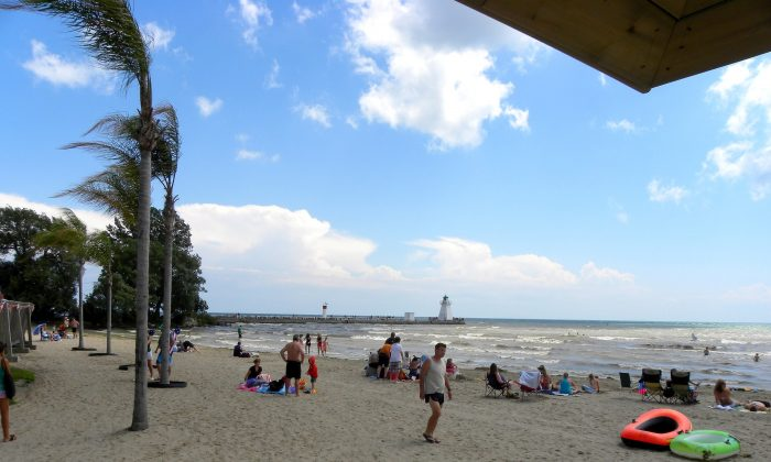 Erie Beach with its palm trees, pier, and lighthouse. (JasonParis/Wikimedia Commons)