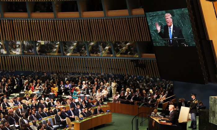 US President Donald Trump addressesthe 72Annual UN General Anniversary in New York on Sept 19, 2017. (Jewel Samad/AFP/Getty)