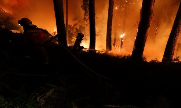 Firefighters from the Military Emergency Unit (UME) work to put out a forest fire near As Nieves, northern Spain on Oct. 15, 2017. (Spanish Defence Ministry/UME/Luismi Ortiz/Handout via REUTERS)