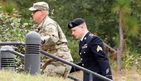 Sgt. Robert B. Bergdahl (R) arrives at the court house for a hearing in the case of United States vs. Bergdahl in Fort Bragg, North Carolina, Oct. 16, 2017. (Reuters/Jonathan Drake)