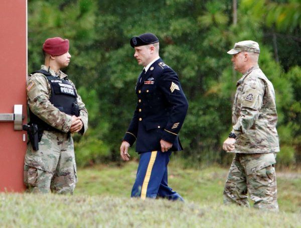 Sgt. Robert B. Bergdahl (C) is escorted into the court house after a lunch break during his hearing in the case of United States vs. Bergdahl in Fort Bragg, North Carolina, U.S., October 16, 2017. (Reuters/Jonathan Drake)