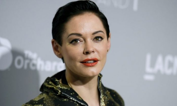 """Rose McGowan arrives at the Los Angeles Premiere Of """"DIOR & I"""" held at the Leo S. Bing Theatre on Wednesday, April 15, 2015. (Richard Shotwell/Invision/AP)"""
