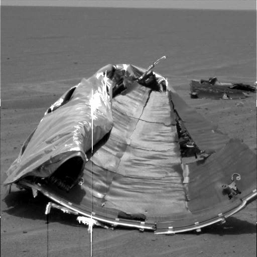 An image of debris taken by the Opportunity rover shortly before the controversial image. (NASA)