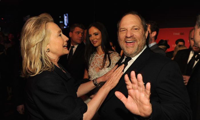 Secretary of State Hillary Rodham Clinton and producer Harvey Weinstein attend the TIME 100 Gala, TIME'S 100 Most Influential People In The World, cocktail party at Jazz at Lincoln Center on April 24, 2012 in New York City.  (Larry Busacca/Getty Images for TIME)