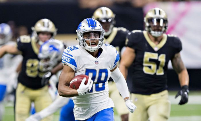 Tion Green #38 of the Detroit Lions returns a punt during a game against the New Orleans Saints at Mercedes-Benz Superdome in New Orleans on Oct. 15, 2017. (Wesley Hitt/Getty Images)