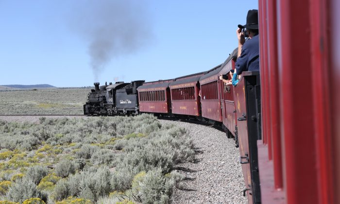 The Cumbres & Toltec Scenic Railroad heads into desert lands on its route from Chama, New Mexico, to Antonito, Colorado. (Benjamin Rader)