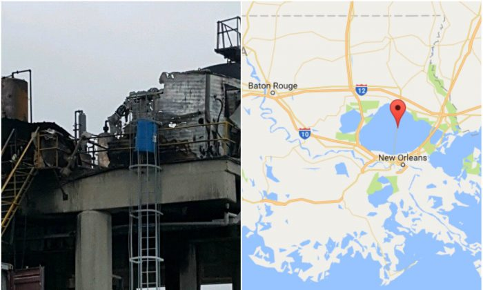 L: An oil rig on Lake Pontchartrain, La., on Oct. 16, 2017, a day after it was rocked by a gas explosion. (Kenner City Government); R: The location of Lake Pontchartrain, La. (Screenshot via Google Maps)