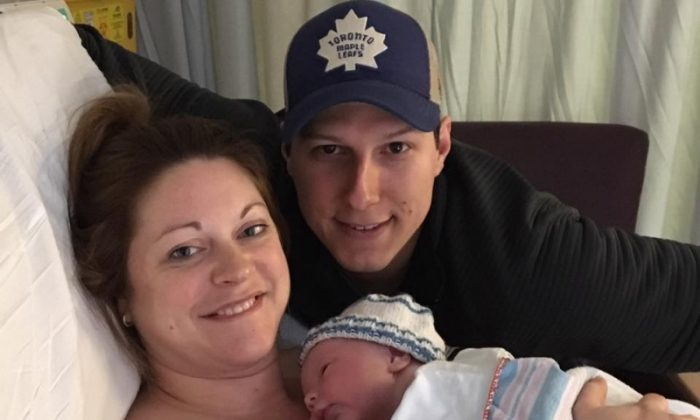 Lindsey Hubley, and her fiancé, Mike Sampson, gave birth to a perfect little boy, Myles Owen. (Screenshot via GoFundMe)