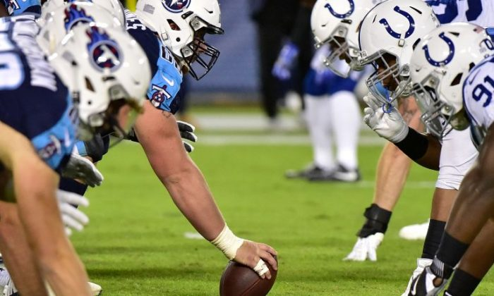 The Tennessee Titans line up against the Indianapolis Colts during the first half at Nissan Stadium on Oct. 16, 2017, in Nashville, Tenn. ( Frederick Breedon/Getty Images)