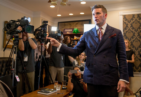 White nationalist Richard Spencer speaks to select media in his office space in Alexandria, Virginia on Aug. 14, 2017. (Tasos Katopodis/Getty Images)