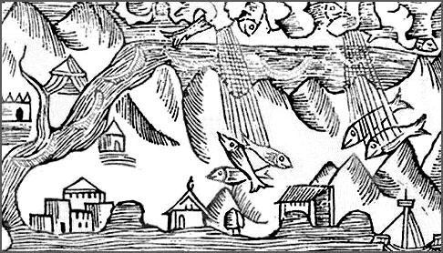 1555 engraving of raining fish. (Public domain)