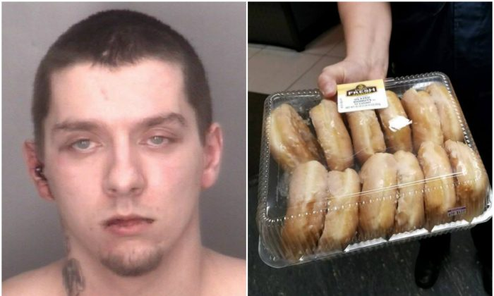 L: Michael Zaydel; R: The promised donuts he brought when turning himself in on Oct. 16, 2017. (Redford Township Police Department)