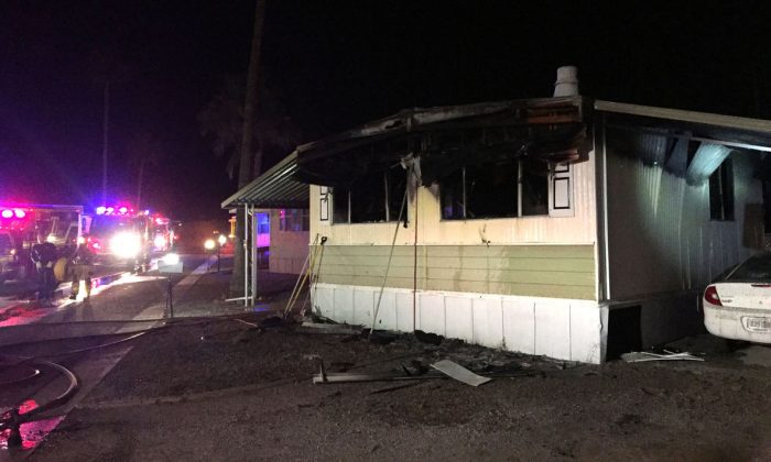 The aftermath of a fire at mobile home fire on the 4000 block of East Blacklidge Drive, Tucson, Ariz. on Oct. 15, 2017. (Tucson Fire Department)