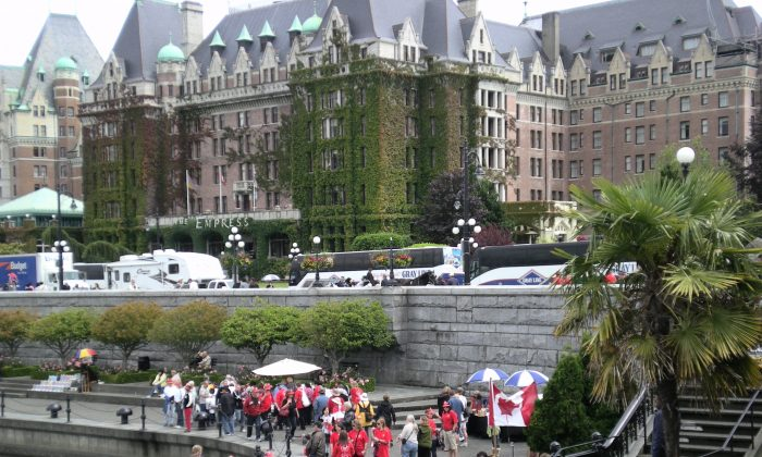 Victoria's inner harbour and the Empress Hotel. A new study suggests Victoria is the best Canadian city in which to be a woman. (Joan Delaney/The Epoch Times)
